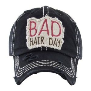 """""""BAD HAIR DAY"""" WASHED VINTAGE BALL CAP"""